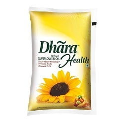Dhara Refined -Sunflower oil 1litre pouch