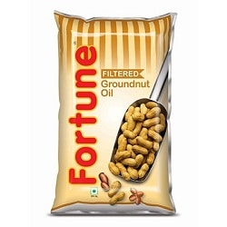 Fortune Groundnut Oil Filtered Groundnut Oil  1 litre Pouches