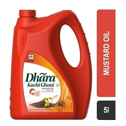 Dhara Kachi Ghani Mustard Oil Jerry Can 5 Ltr